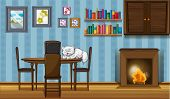 Illustration of a cat sleeping above the table beside the fireplace