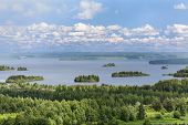 Aerial View Of Karelian Lakes In Evergreen Forests, Russia