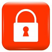 white padlock on red button, vector icon