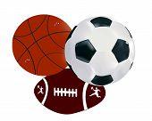 Постер, плакат: Мячи футбол волейбол регби