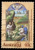 AUSTRALIA - CIRCA 1989: A Christmas stamp printed in Australia shows Annunciation to the Shepherds,
