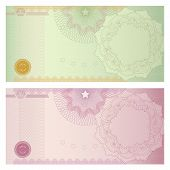 Gift Voucher / certificate / coupon template (banknote, money, currency, cheque, check).