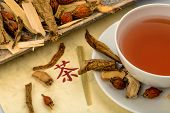 ingredients for a tea in traditional chinese medicine. healing of diseases through alternative methods.
