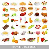 Vector set: Isolated food icons (dishes). Main courses