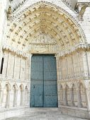 stock photo of poitiers  - Church door at the Cathedrale Saint Pierre in Poitiers France - JPG