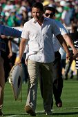PASADENA, CA - JULY 7: Oscar de la Hoya during half time of the 2013 CONCACAF Gold Cup game between