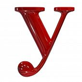 3d shiny red plastic ceramic letter collection - y