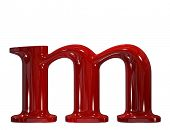 3d shiny red plastic ceramic letter collection - m