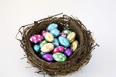 Birds Nest Of Foil Wrapped Chocolate Eggs