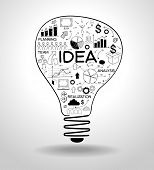 picture of text cloud  - light bulb with drawing icons modern business concept - JPG