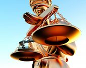 stock photo of handlock  - Themis statue and handcuffs over white background - JPG