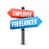 Employee Or Freelancer Road Sign Illustration