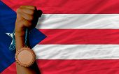 Bronze Medal For Sport And  National Flag Of Puertorico