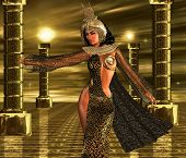 picture of nefertiti  - An Egyptian woman standing in an open temple on a metallic gold reflective floor with an abstract background - JPG