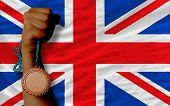 Bronze Medal For Sport And  National Flag Of United Kingdom