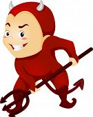 Illustration of a Little Kid Boy as a Red Devil with Horns and Pitchfork