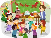 stock photo of stickman  - Illustration of Stickman Kids Having a Christmas Party at School - JPG