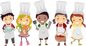 stock photo of thong  - Illustration of Stickman Kids as Little Chefs - JPG