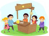 Illustration of Stickman Kids on a Lemonade Stand