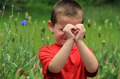 Cute little boy making heart with hands