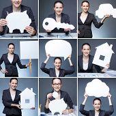 Collage of young businesswoman holding paper figures