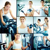 Collage of pretty girl and young guy training on sport facilities in gym