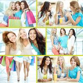 Collage of three happy girls in smart casual after shopping