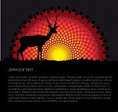 tribal art background with a Antelope silhouette