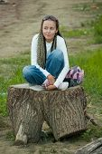 Girl On Stump