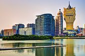 Resorts and casinos at Nam Van Lake in Macau S.A.R, China.