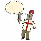 image of arthurian  - retro cartoon arthurian knight - JPG