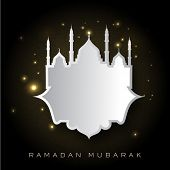 Holy month of muslim community Ramadan Kareem background with illustration of mosque and space for y