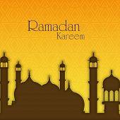 Holy month of muslim community Ramadan Kareem background illustration of mosque.