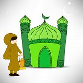 Muslim woman holding arabic lantern and illustration of mosque concept for holy month of Ramadan Kar