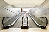 picture of escalator  - Special escalator in modern mall for people with supermarket carts and disabled people - JPG