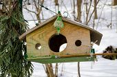 Wooden Bird Feeder With Three Holes