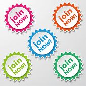 Join Now Colorful Star Paper Labels