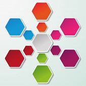 foto of hexagon  - Flowchart with colorful paper hexagon labels - JPG