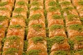 stock photo of baklava  - Just out from owen a big plate of baklava - JPG