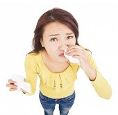 Asian Young Woman  Having Runny Nose With Tissues