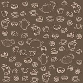 Tea and sweets. Vector seamless pattern