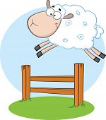 stock photo of counting sheep  - White Sheep Jumping Over The Fence  Illustration Isolated on white - JPG