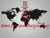 Graphic design Zero Discrimination Day related. Celebrated on March 1.