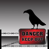 Danger plate and crow
