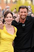 Lynn Collins and Hugh Jackman at the United States Premiere of 'X-Men Origins Wolverine'. Harkins Th