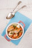 Irish Salmon Stew In A Pink Bowl