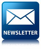 Newsletter (email icon) Glossy Blue Reflected Square Button