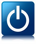 Power Icon Glossy Blue Reflected Square Button