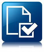 Checklist Icon Glossy Blue Reflected Square Button