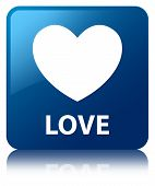 Love Glossy Blue Reflected Square Button